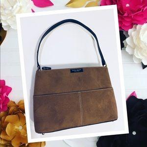 Kate Spade Shoulder Bag Suede Leather Logo front